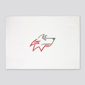 Lone Wolf logo (red/gray) 5'x7'Area Rug