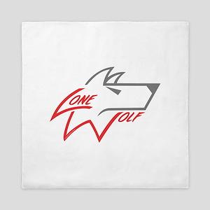 Lone Wolf logo (red/gray) Queen Duvet