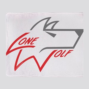 Lone Wolf logo (red/gray) Throw Blanket