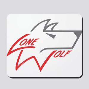 Lone Wolf logo (red/gray) Mousepad