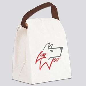 Lone Wolf logo (red/gray) Canvas Lunch Bag