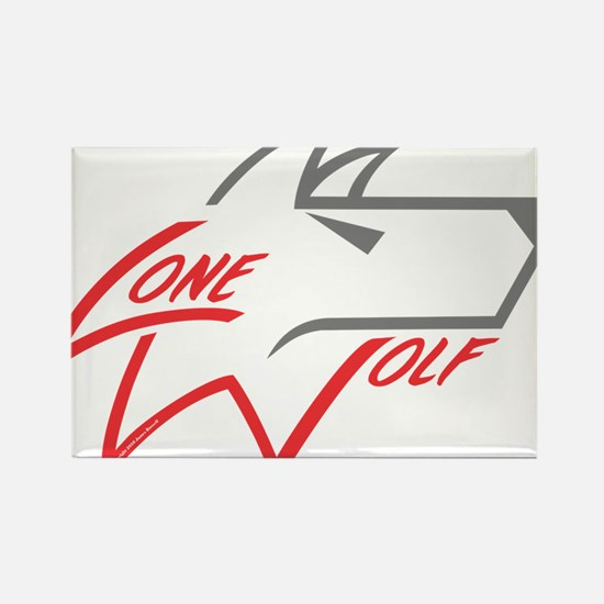 Lone Wolf logo (red/gray) Magnets