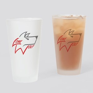Lone Wolf logo (red/gray) Drinking Glass