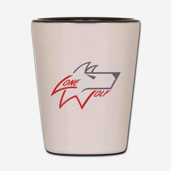 Lone Wolf logo (red/gray) Shot Glass