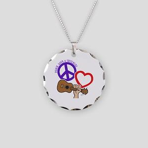 P, L, UKULELES Necklace Circle Charm