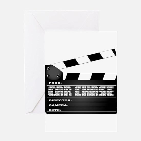 Car Chase Clapperboard Greeting Cards
