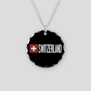 Switzerland: Swiss Flag & Sw Necklace Circle Charm