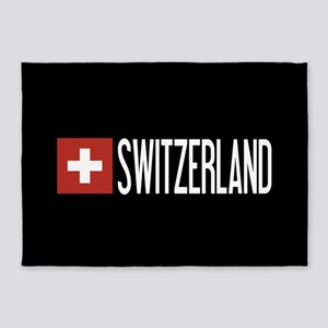 Switzerland: Swiss Flag & Switzerla 5'x7'Area Rug