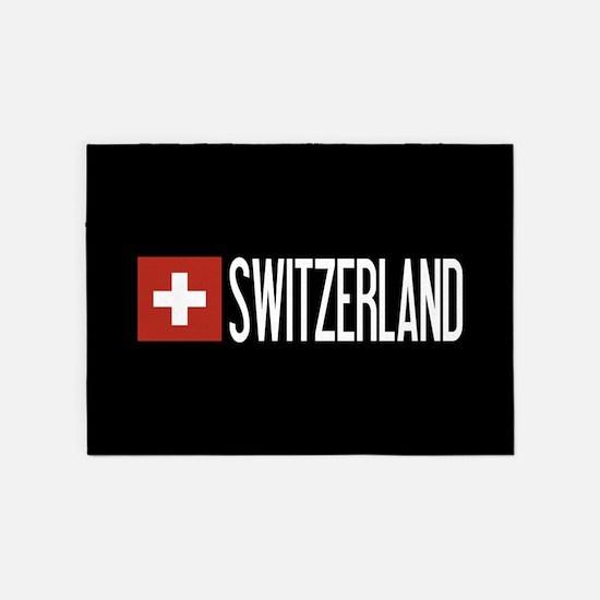 Switzerland: Swiss Flag & Switzerla 5'x7'Area Rug