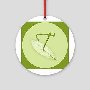 Leaves Monogram T Ornament (Round)