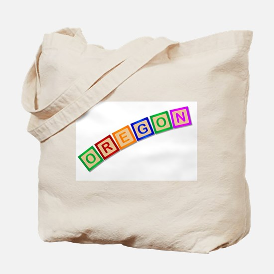 Oregon Wooden Block Letters Tote Bag