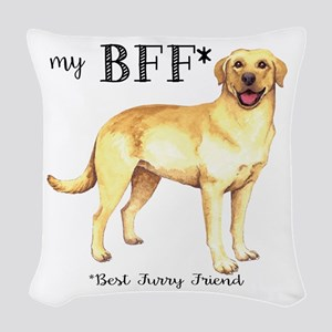 Yellow Lab BFF Woven Throw Pillow