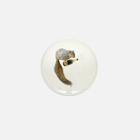 Squirrel Champagne Bubbles Mini Button
