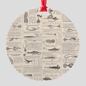 Fishing Lures Vintage Antique Newsprint Ornament