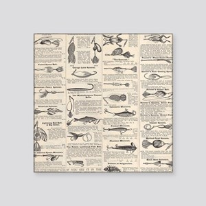 Fishing Lures Vintage Antique Newsprint Sticker
