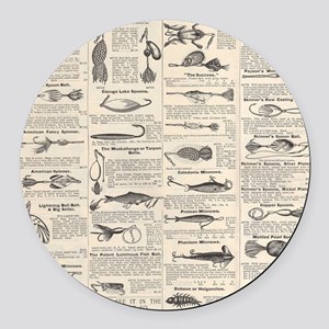 Fishing Lures Vintage Antique Newsprint Round Car