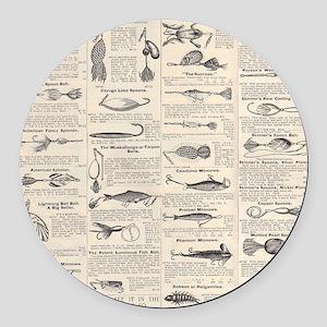 Fishing Lures Vintage Antique Newsprint Round Car