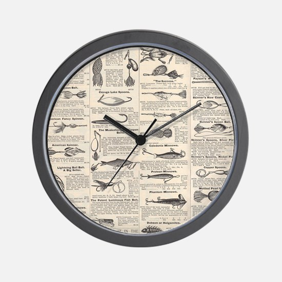Fishing Lures Vintage Antique Newsprint Wall Clock