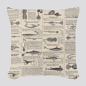 Fishing Lures Vintage Antique Newsprint Woven Thro
