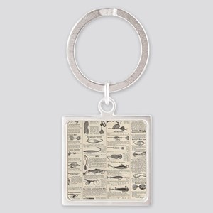 Fishing Lures Vintage Antique Newsprint Keychains