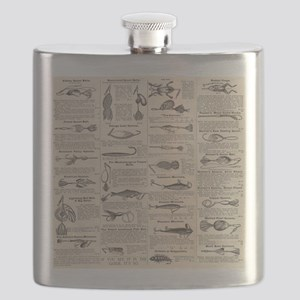 Fishing Lures Vintage Antique Newsprint Flask