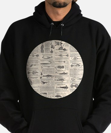 Fishing Lures Vintage Antique Newsprint Hoodie