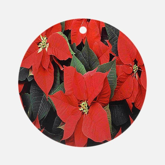 Poinsettia Round Ornament