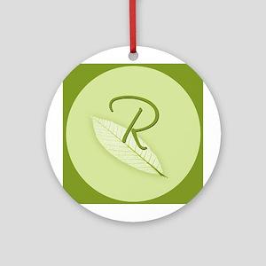 Leaves Monogram R Ornament (Round)