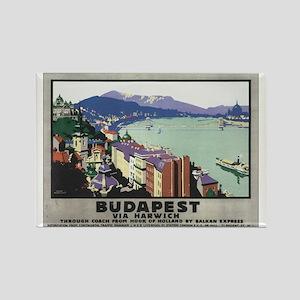 Vintage Budapest Travel Poste Rectangle Magnet