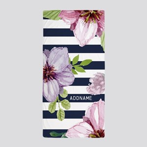 Navy Stripes And Flowers Personalized Beach Towel