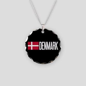 Denmark: Danish Flag & Denma Necklace Circle Charm