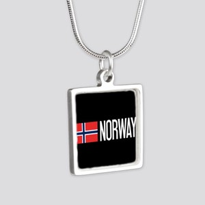 Norway: Norwegian Flag & N Silver Square Necklace