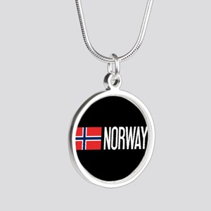 Norway: Norwegian Flag & Nor Silver Round Necklace