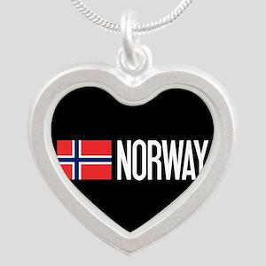 Norway: Norwegian Flag & Nor Silver Heart Necklace