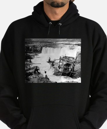 Men fishing at Celilo Falls - Vintage Photo Hoodie