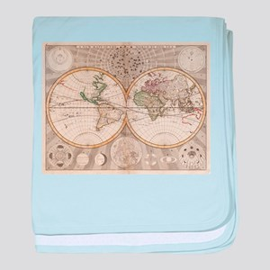 Vintage Map of The World (1687) baby blanket