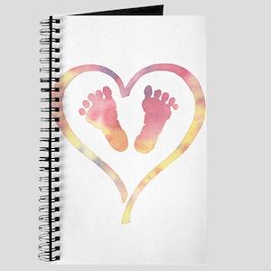 Baby Feet Heart in Watercolor Journal