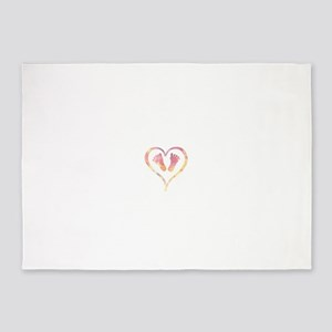 Baby Feet Heart in Watercolor 5'x7'Area Rug