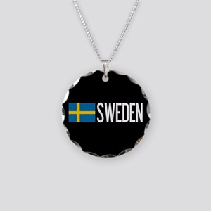 Sweden: Swedish Flag & Swede Necklace Circle Charm