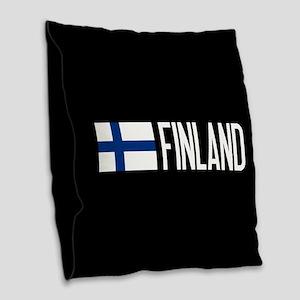 Finland: Finnish Flag & Finlan Burlap Throw Pillow