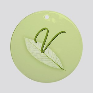 Leaves Monogram V Ornament (Round)