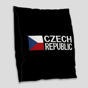 Czech Republic: Czech Flag & C Burlap Throw Pillow