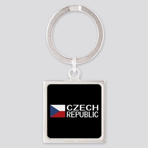 Czech Republic: Czech Flag & Czech Square Keychain