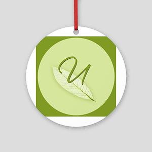 Leaves Monogram U Ornament (Round)
