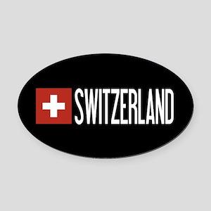 Switzerland: Swiss Flag & Switzerl Oval Car Magnet