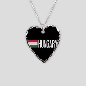 Hungary: Hungarian Flag & Hun Necklace Heart Charm