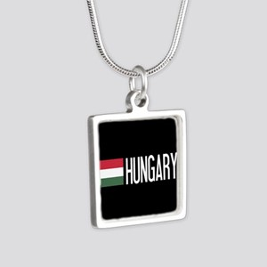 Hungary: Hungarian Flag & Silver Square Necklace