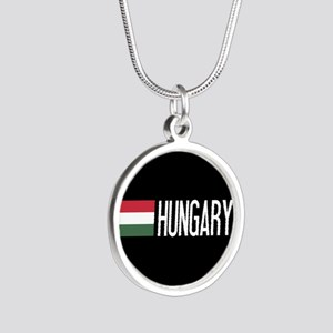 Hungary: Hungarian Flag & Hu Silver Round Necklace