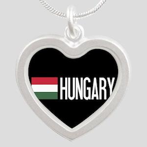 Hungary: Hungarian Flag & Hu Silver Heart Necklace