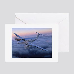King Air in Flight Greeting Cards